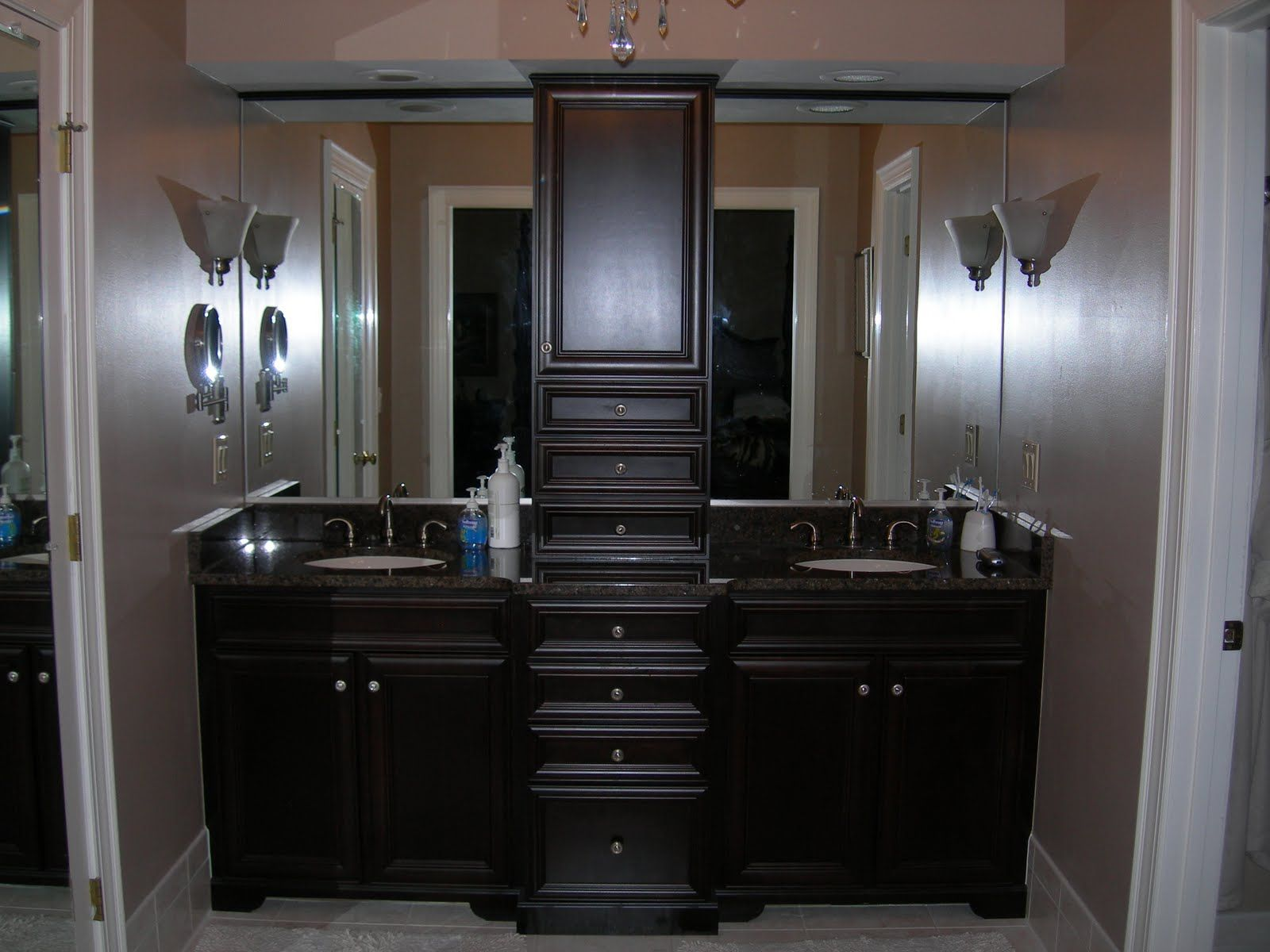 Delightful Luxury Inexpensive Bathroom Remodel Tips With Trendy Brown Granite Vanity  Top Large Brown Cabinet Knobs Attached