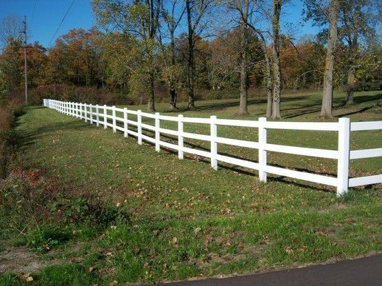 White vinyl three rail farm fence vinyl fence pinterest third