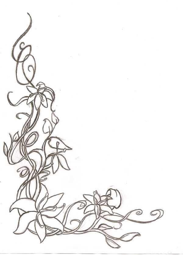 Floral Corner Border Sketch By Shaunery On Deviantart Flower Drawing Flower Line Drawings Easy Flower Drawings