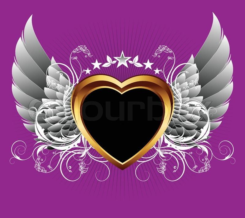 Stock Vector Of Valentines Heart Decorated With Wings And Curls