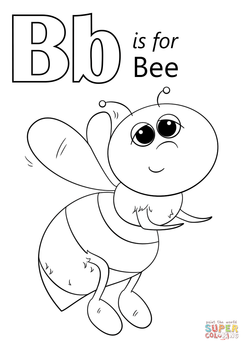 Letter B Is For Bee Super Coloring Abc Coloring Pages Abc Coloring Bee Coloring Pages