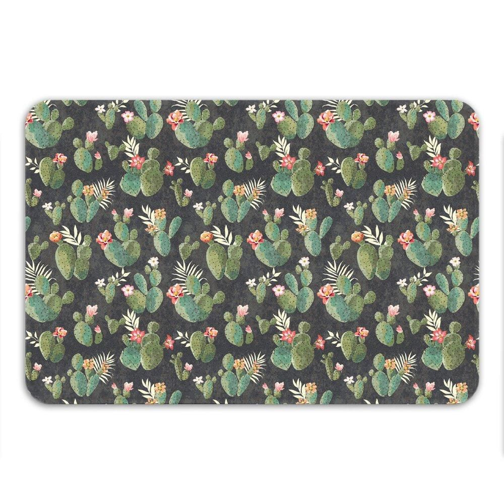 "Cactus Bath Mat, Non Slip, Western Bathroom Decor, Cool Bath Mat, Boho Rug, Microfiber, Floral Pattern, Desert Theme Decor, Small or Large - Large - 34"" x 21"""