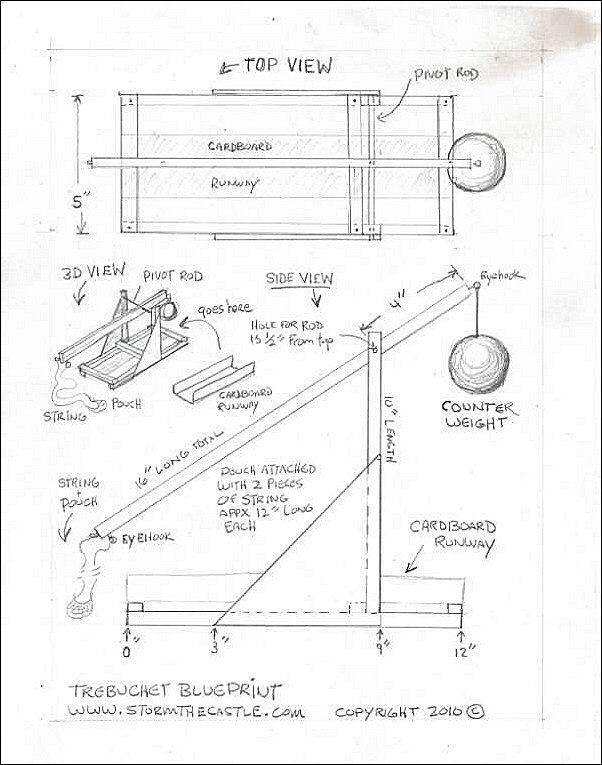Trebuchet Blueprint Woodworking Projects Plans Catapult Blueprints