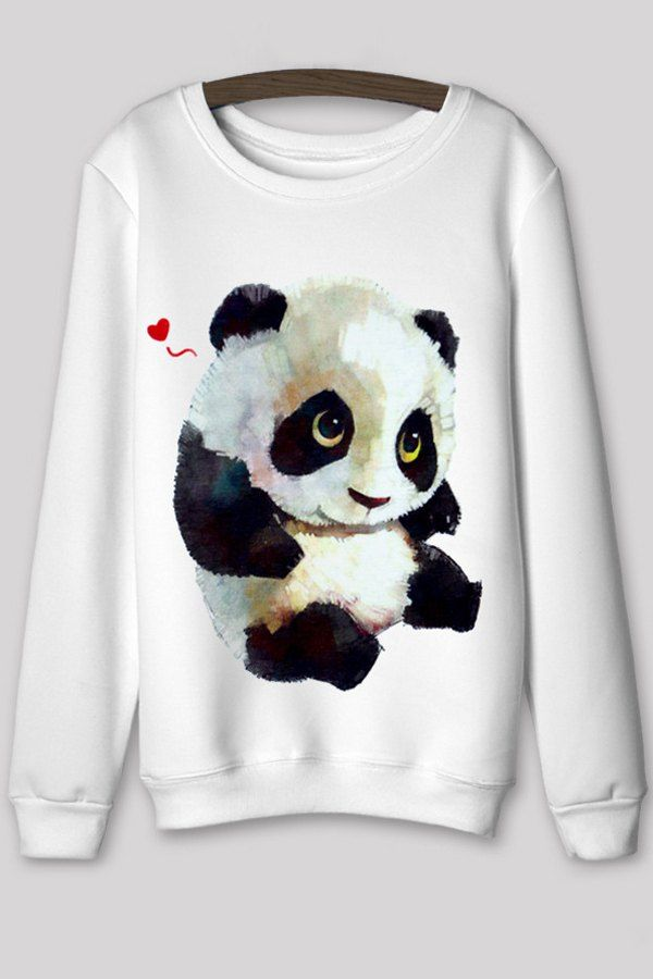 Cartoon Digital Panda Print Round Color Sweatshirt WHITE