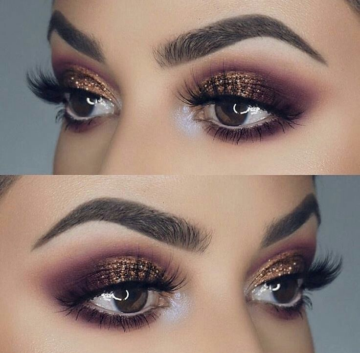 Purple And Bronze Glitter Eye Makeup Idea For Prom Easy Tutorial Blue Brown Or Hazel Eyes Great That Natural Look Hooded Smokey