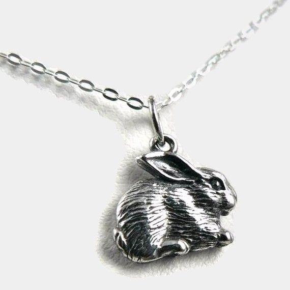 Fluffy bunny sterling silver charm rabbit pendant necklace woodland fluffy bunny sterling silver charm rabbit pendant par asilomarworks 2900 aloadofball Images