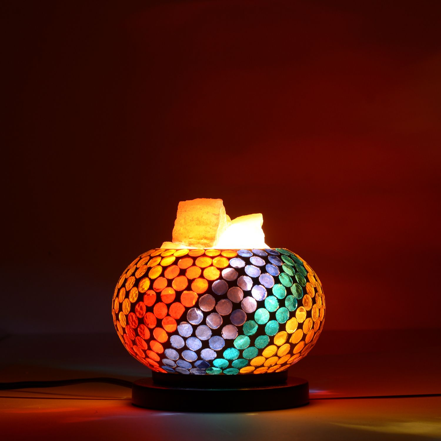 Handcrafted Multi Color Dots Mosaic Electric Lamp With Himalayan Salt Electric Lamp Lamp Mosaic