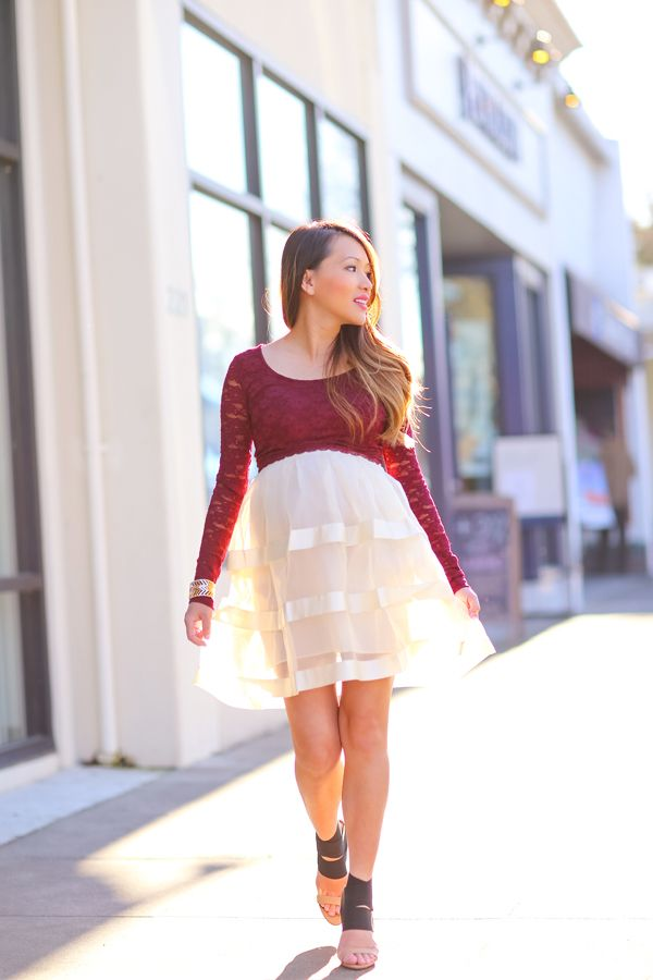 petite fashion, cute maternity clothes, lace crop top, tulle skirt ...