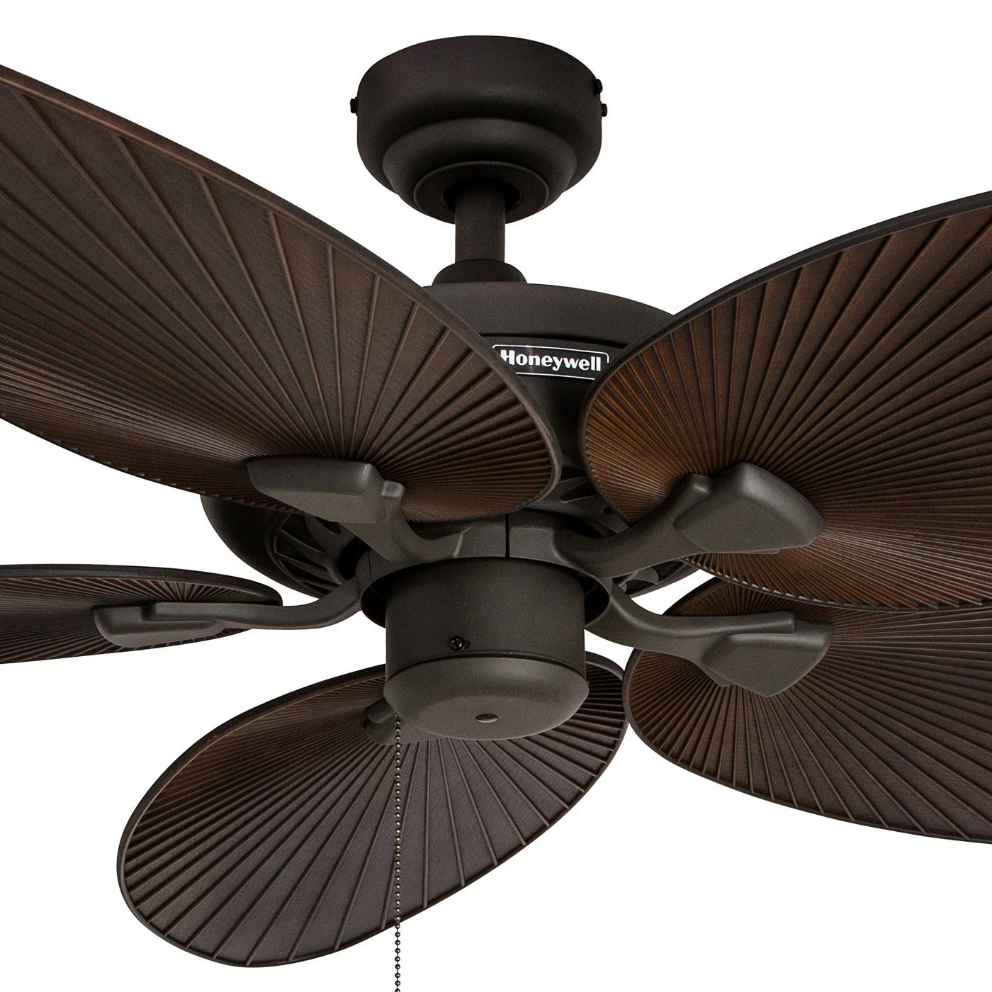 Honeywell Palm Island 52inch Tropical Ceiling Fan Five Palm Leaf Blades Indoor Outdoor Damp Rated Bronze Bronze Ceiling Fan Ceiling Fan Outdoor Ceiling Fans