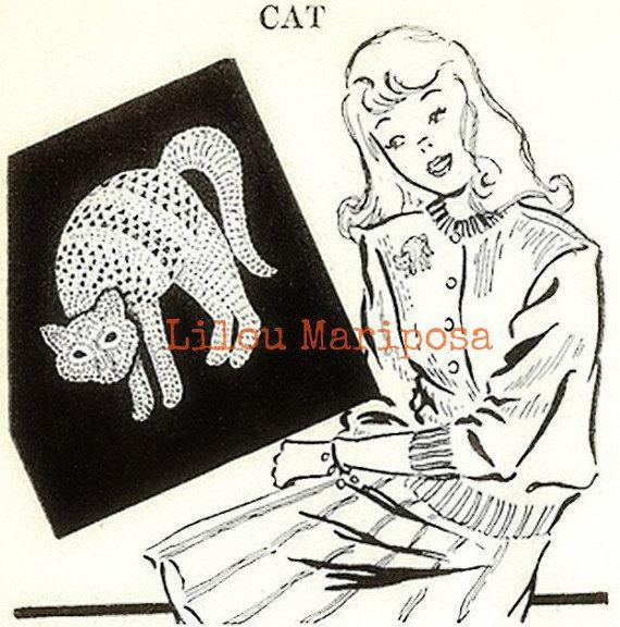 Patron pdf 1918 de tejido en crochet GATO aplique halloween applique ...