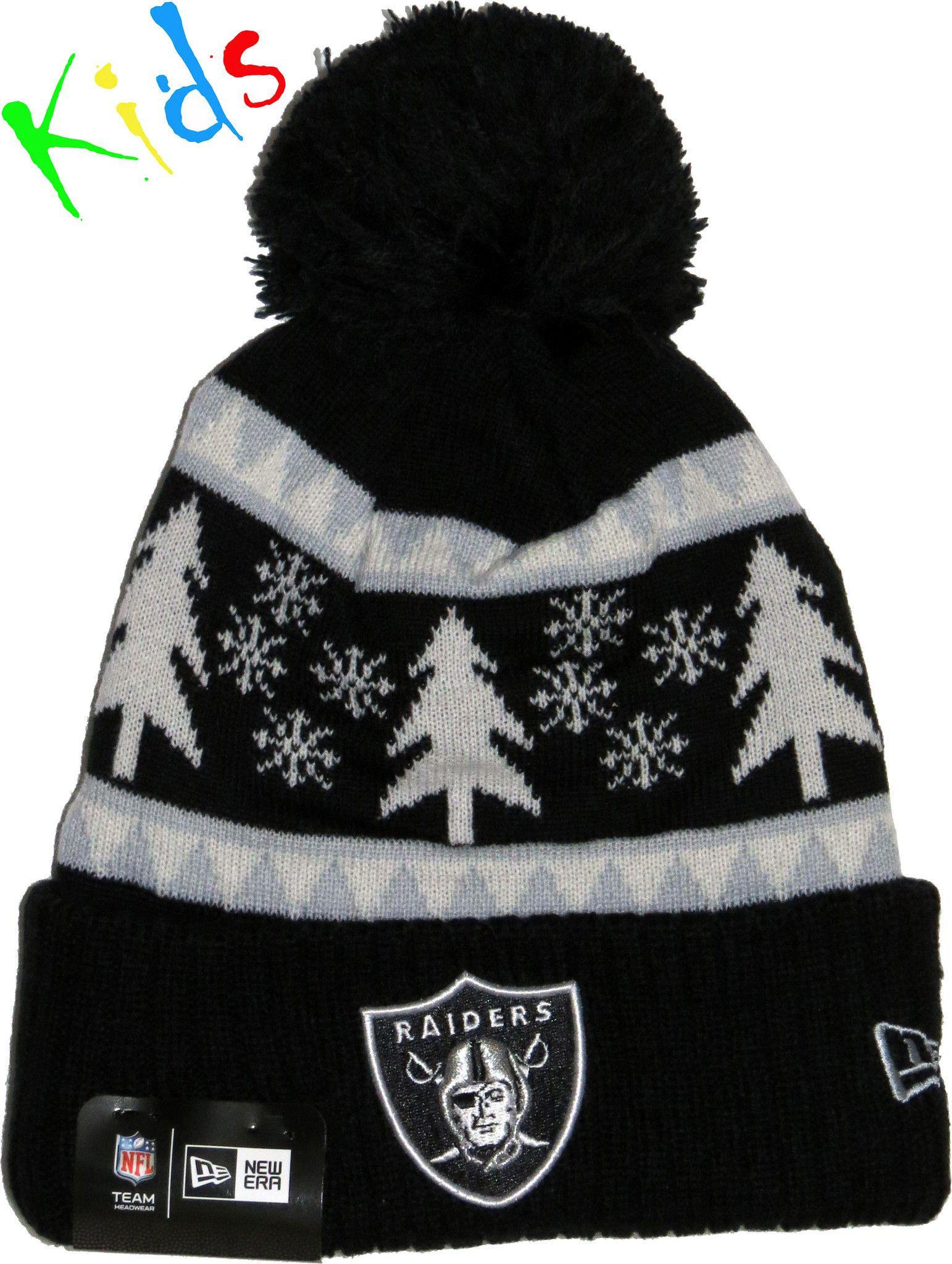 65608264a Oakland Raiders New Era Kids Snow Pine Bobble Hat