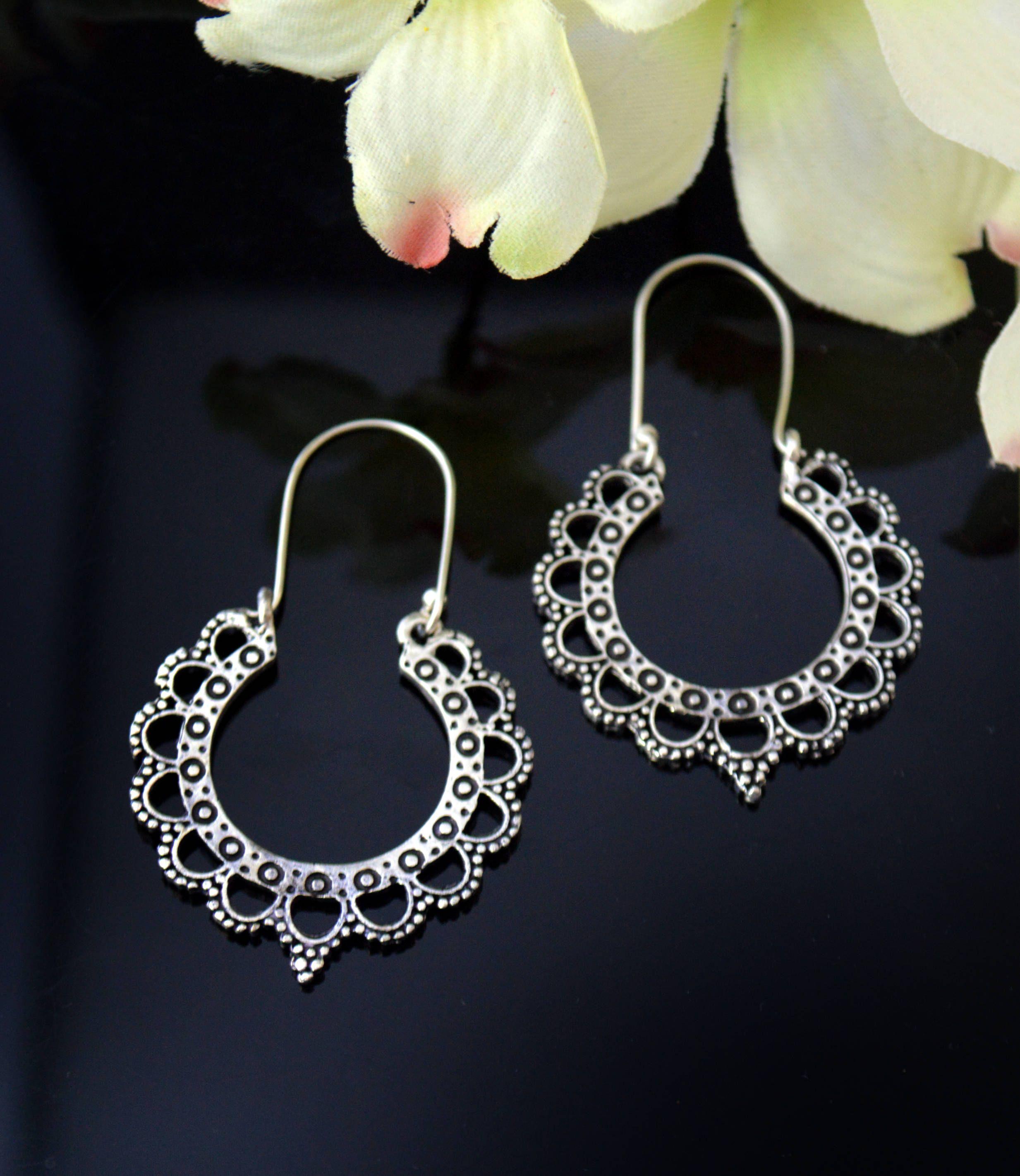 0d615b17a Silver Hoop Earrings,Lightweight Earrings,Tribal jewelry- Indian village  ornaments-Boho gypsy Earrings by Taneesi by taneesijewelry on Etsy