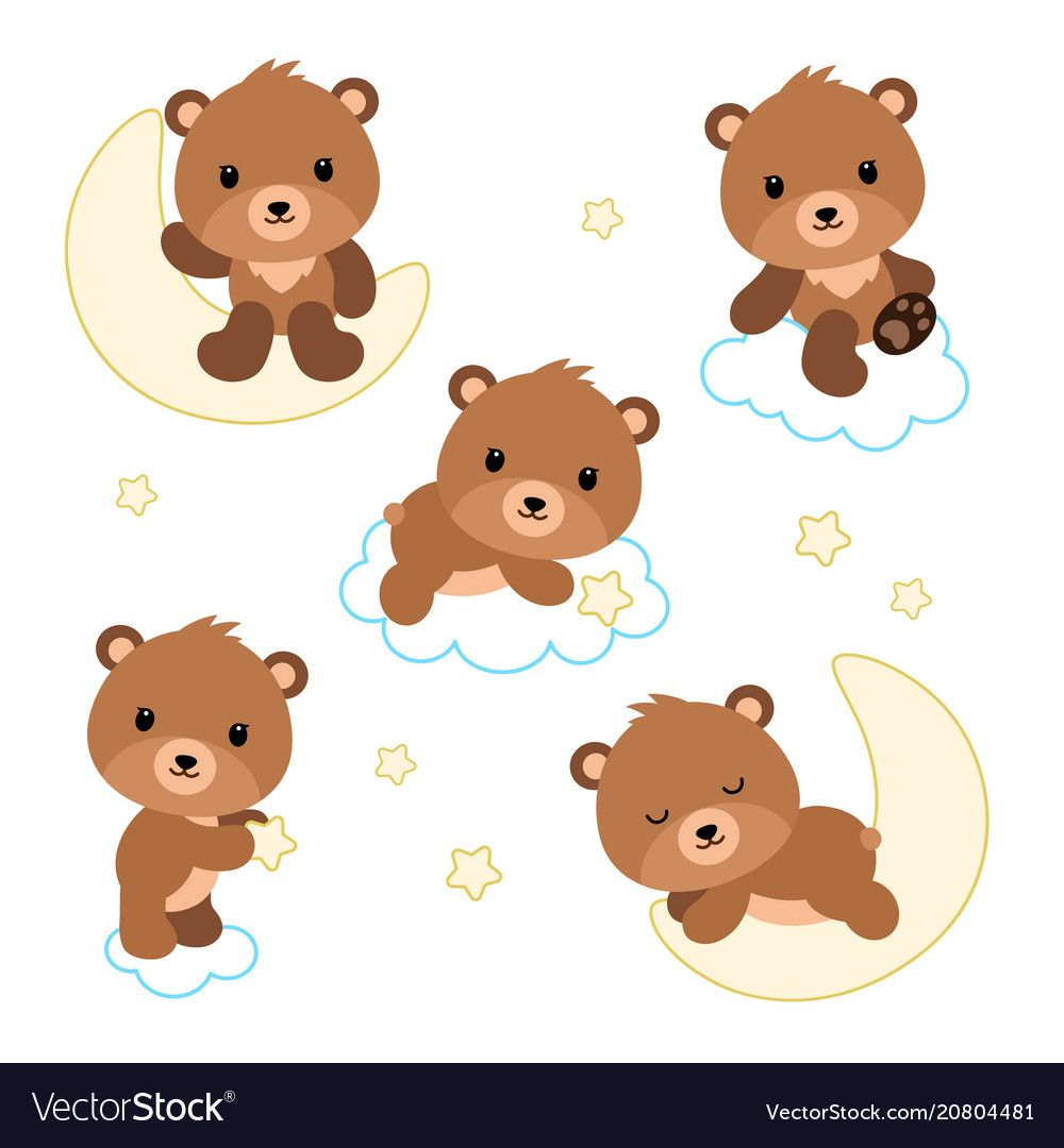 Adorable flat bears on clouds or moon vector image on