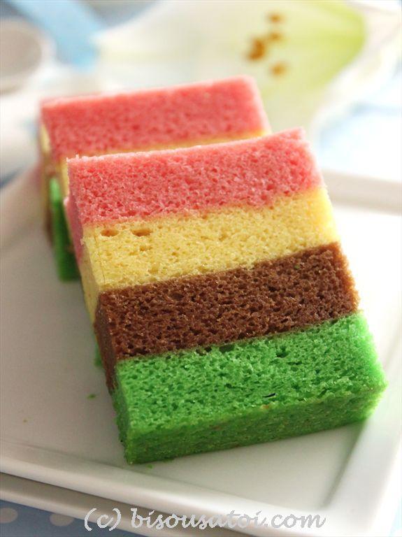 Egg White Steam Rainbow Cake Makanan Ringan Manis Kue Bolu