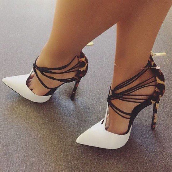 75eb24010ad Women s Style Pumps Lillian White Strappy Pumps Heels D orsay Heels Pointed  Toe Stiletto Heels Pumps Style Fall Outfits Women for Hanging out