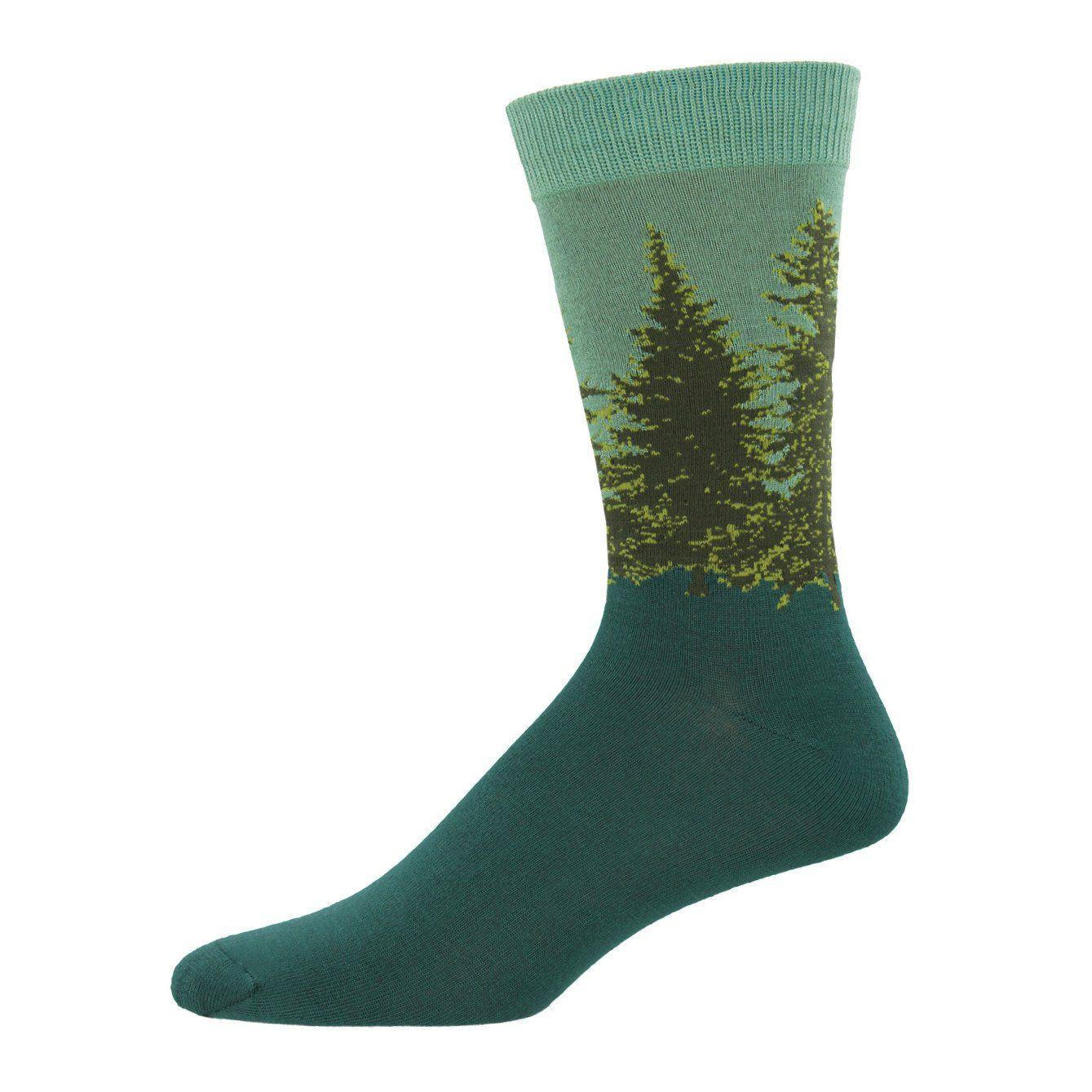 2c92447f99389 Forest Bamboo Men's Crew Socks | Evergreen Tree Novelty Men's Sock - ModSock