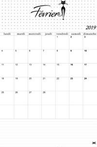 Calendrier 2019 Mois Par Mois A Imprimer.Calendrier Du Mois De Fevrier 2019 A Imprimer Modele Catsy