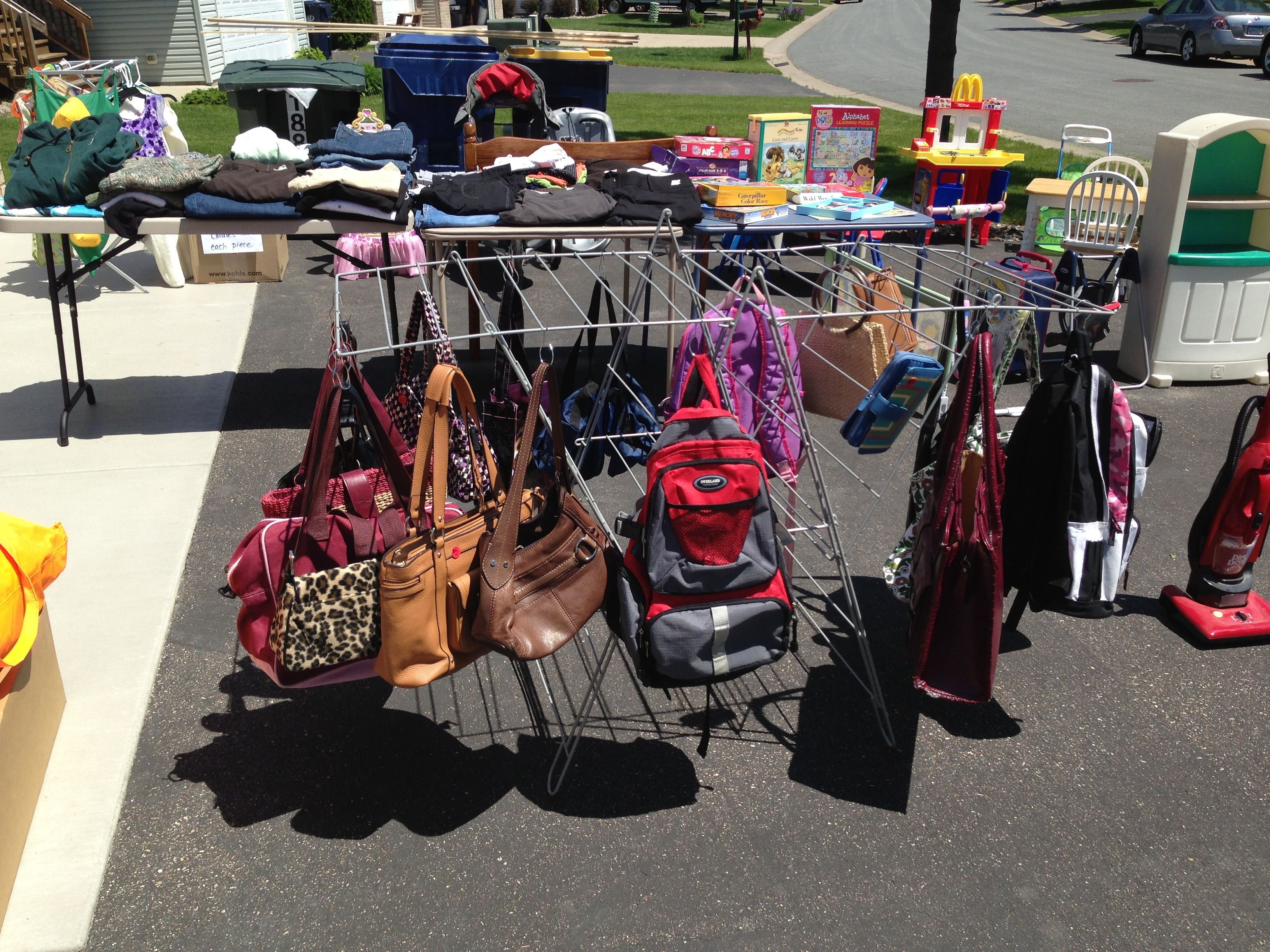 Garage Sale Display Your Handbags With Shower Hooks And A Drying