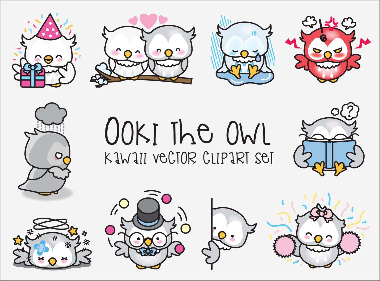 Premium Vector Clipart Kawaii Ooki The Owl Cute Owls Etsy In 2021 Kawaii Clipart Clip Art Vector Clipart