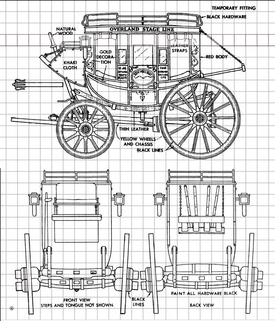 Overland stagecoach full size printed plan 1 8 scale for Where to get blueprints printed