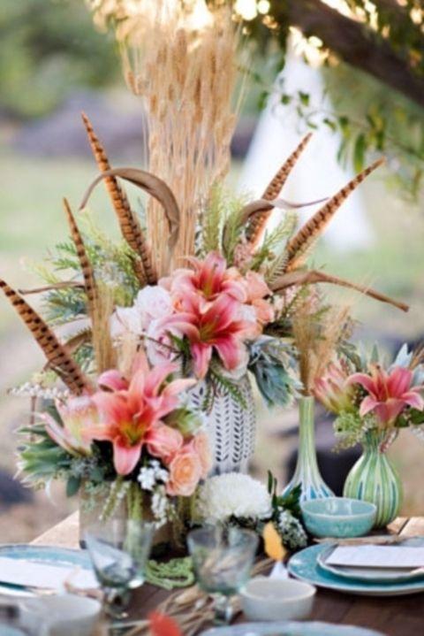 44 Adorable Boho Chic Wedding Centerpieces Feather