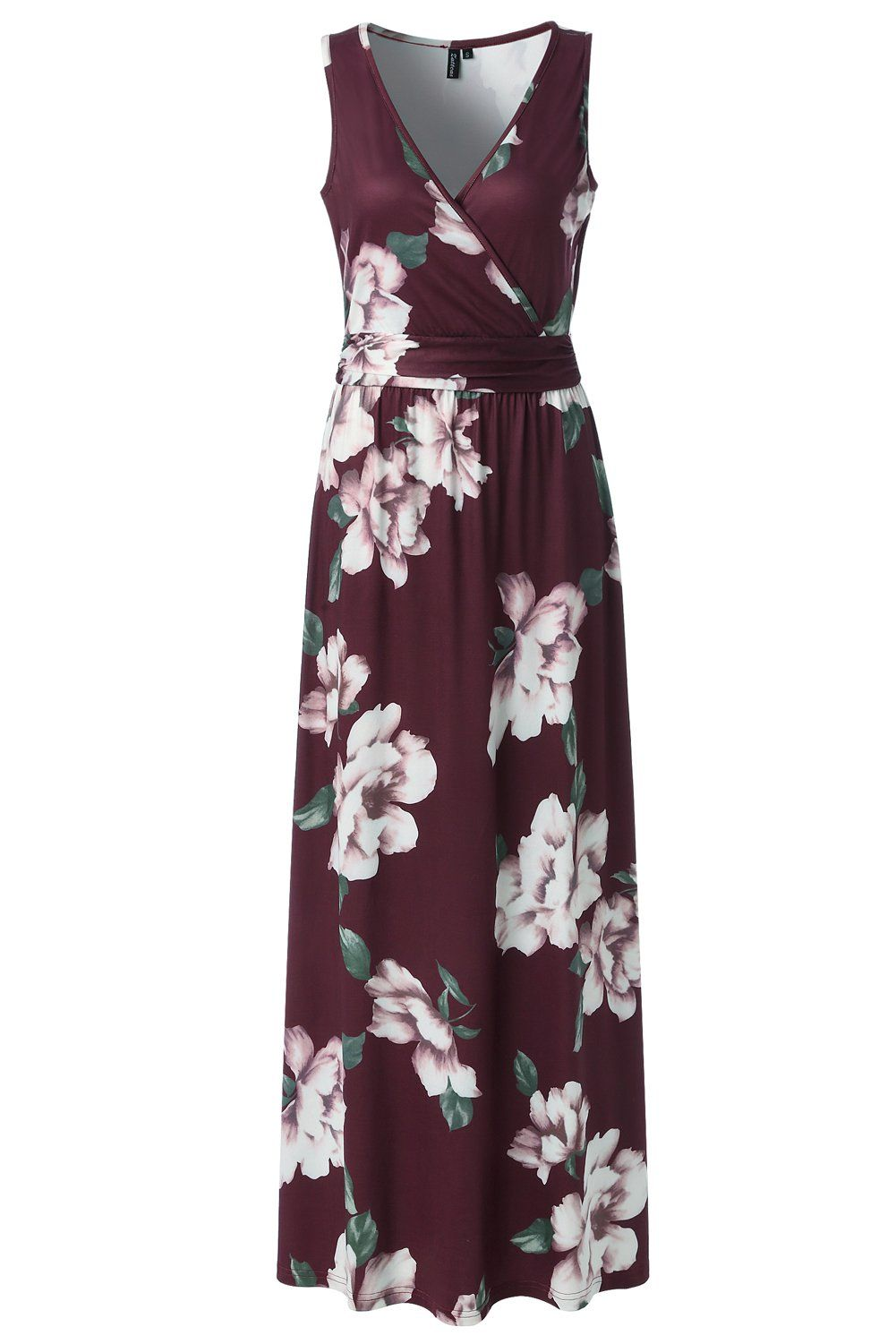 f34104c6432 Zattcas Womens V Neck Sleeveless Maxi Dress Casual Empire Floral Maxi Dress  Large Wine Red