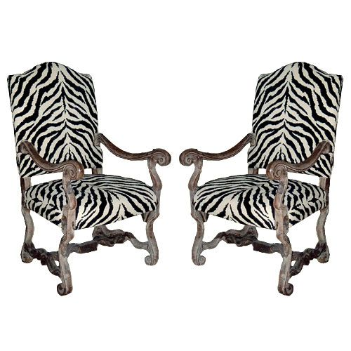 xsold french zebra stripes antique living room chairs