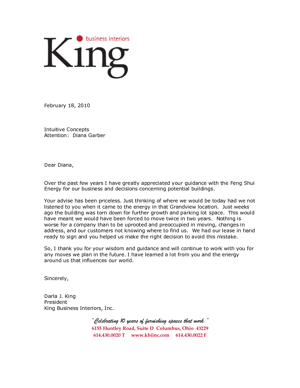 Business letter of reference template king business for Recommendation letter for a company template