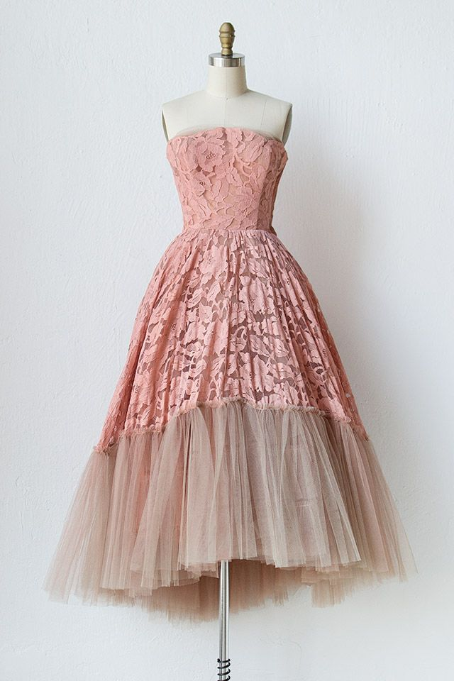 vintage 1950 pink lace tulle ball gown