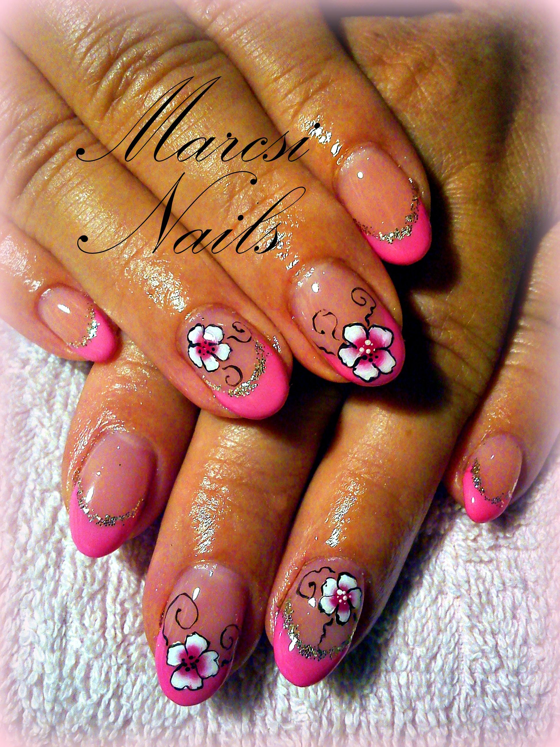 French pink nail with flower | Nails | Pinterest | Pink nails
