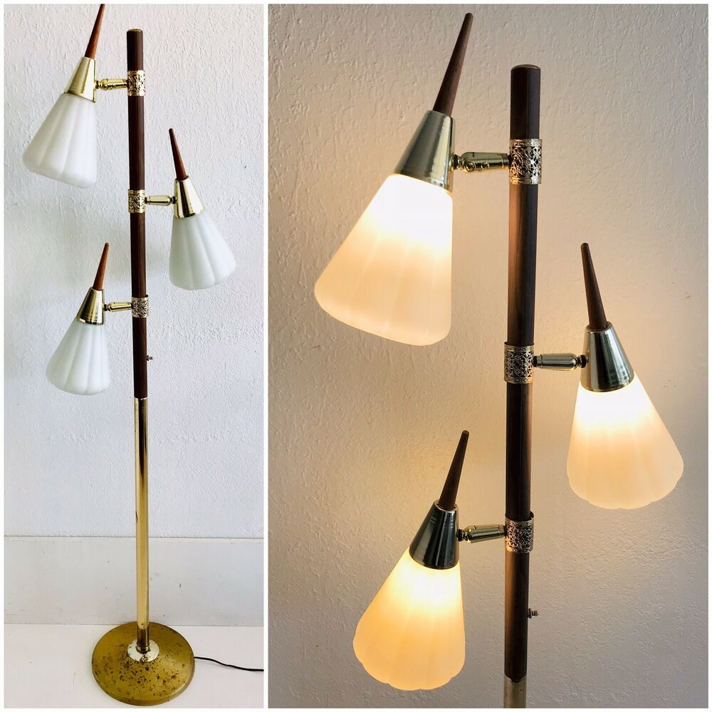Vintage Mcm Pole Floor Lamp 3 Light Cone Glass Shade Teak Wood Gold Metal Lamp Floor Lamp Teak Wood