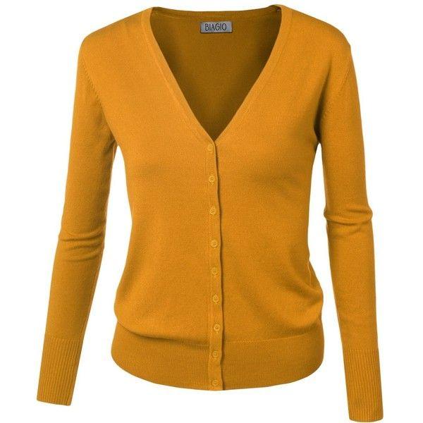 BIADANI Women Button Down Long Sleeve Soft V-Neck Cardigan Sweater ...