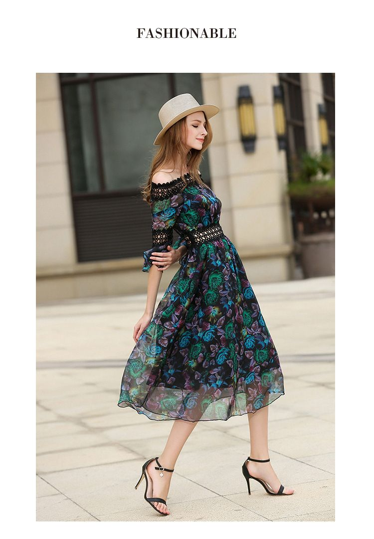 Summer long dress women black sexy off shoulder embroidery party