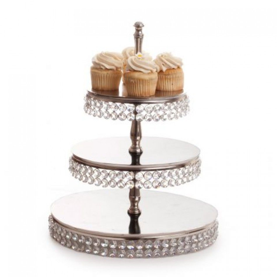 Double crystal trim cupcake stand new u exclusive sk crystal