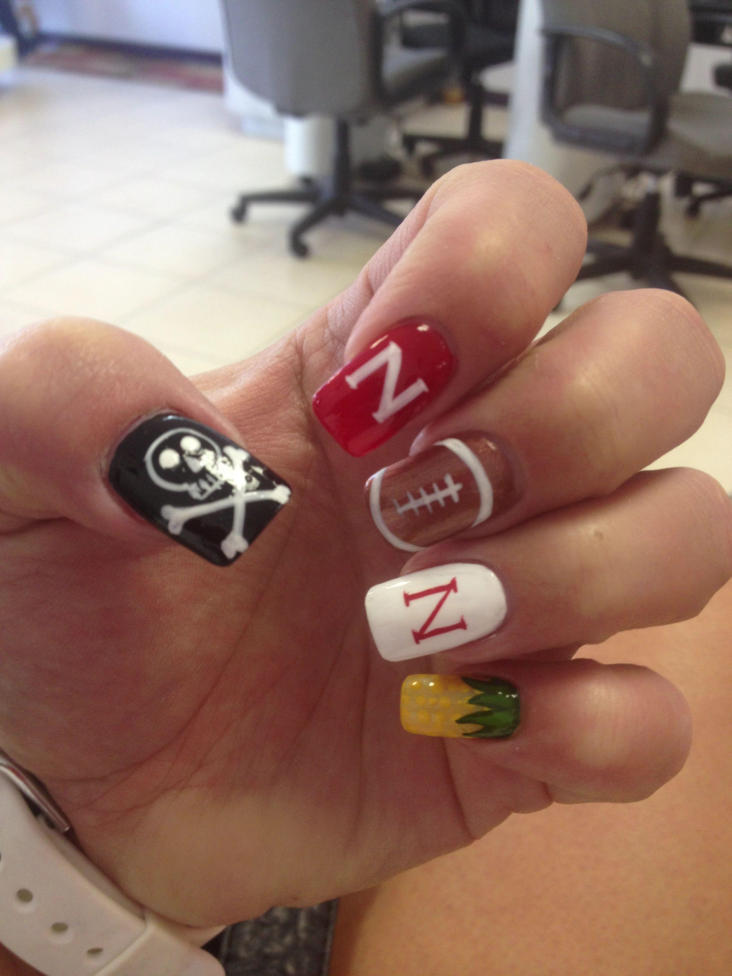 Football Nails Gbr Footballnails Nebraska Nail Art