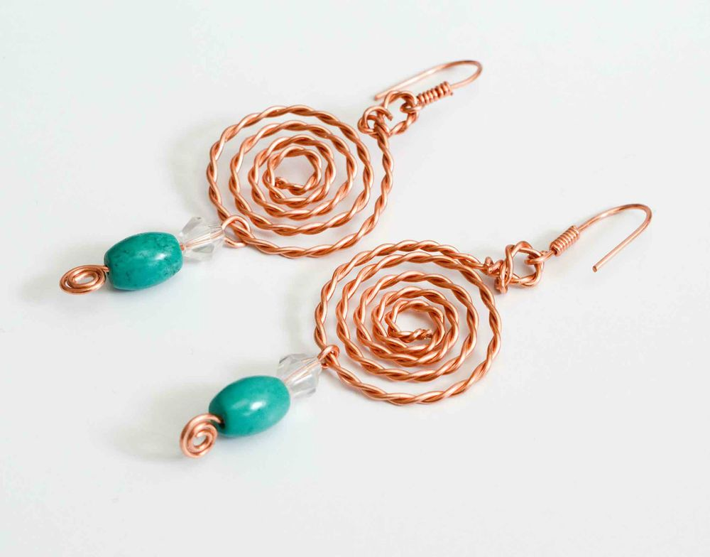 Handmade earrings Spiral earrings twisted copper wire free uk ...