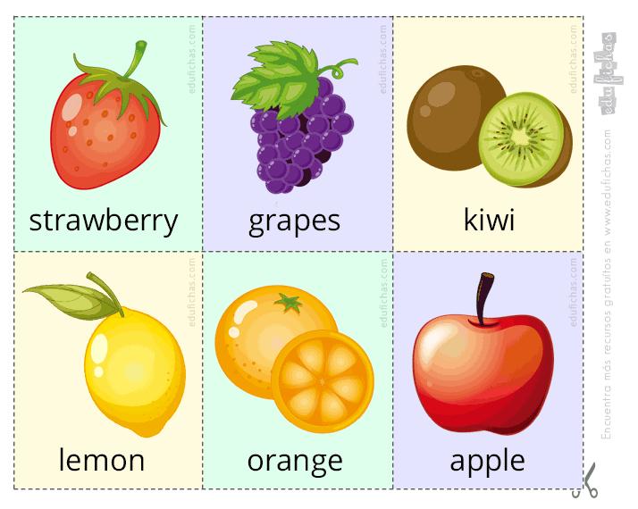 Flashcards Con Nombres De Frutas Parte 1 Inglés Para Niños Ingles Para Preescolar Verduras En Ingles