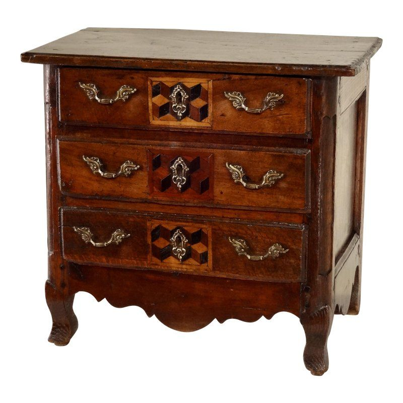18th Century French Miniature Chest Of Drawers Antiques Metal