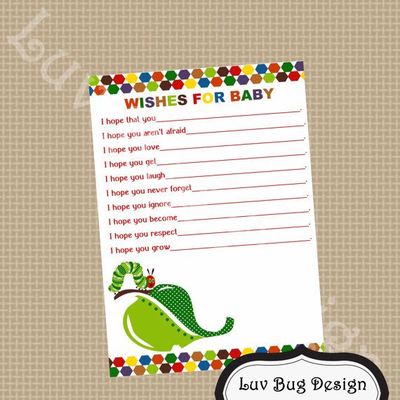 PRINTABLE Caterpillar Wishes for Baby Baby Shower by luvbugdesign