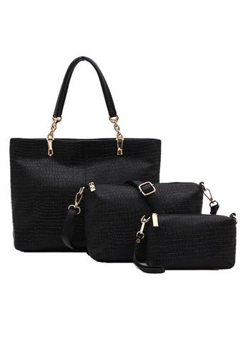 Emberry Set Of 3 In 1 Luxury Leather Handbags Classic Black