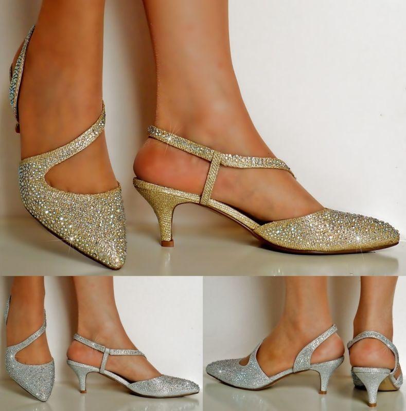 New Ladies Diamante Gold Silver Party Evening Low Kitten Heel Court Shoe Size Sapatos De Casamento Sapatos Salto Sapatos