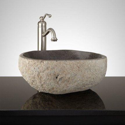 Phantom Dark Gray River Stone Bathroom Vessel Sink Home