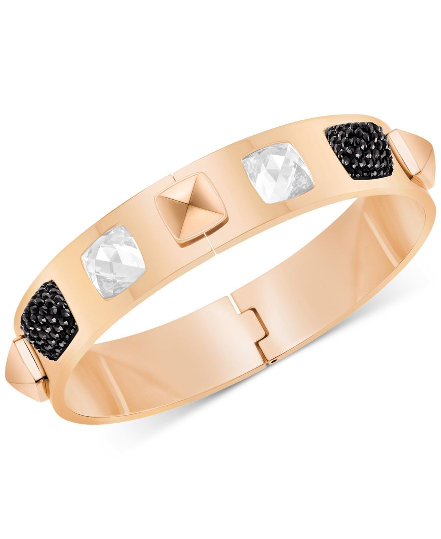 Swarovski rose goldtone clear and black crystal bangle bracelet