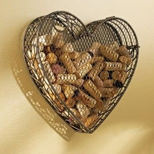 Wine Cork Holder Wall Decor cool metal heart wine cork holder | creative arts | pinterest