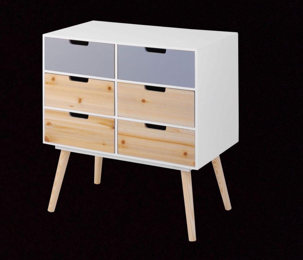 Retro Hohe Kommode Weiß Holz Beistelltisch Zimmer Konsolen Kabinett 6  Schubladen