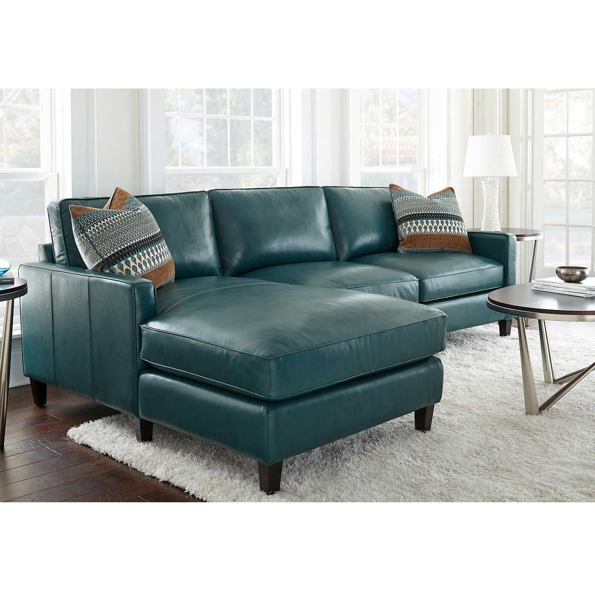 Andersen Top Grain Leather Chaise Sectional Dark Turquoise Leather Chaise Sectional Blue Leather Couch Blue Leather Sofa