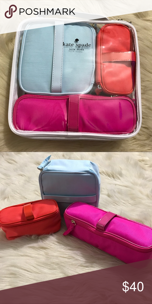 Kate Spade Makeup Toiletry Bag Set Of 3 Brand New With Tags Bags Cosmetic Cases
