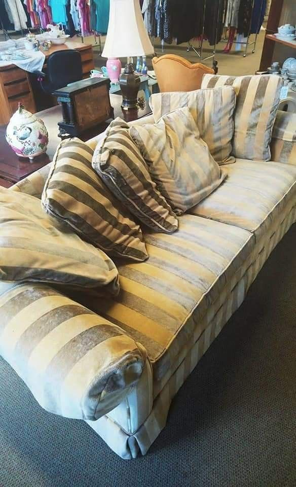 This Velvet, Gold Striped Sofa Is Squishy And Tall. $130