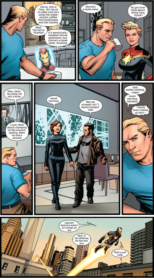 Captain America shares his Iron Man fantasies, and Tony is shocked and appalled. [Avengers: Endless Wartime]