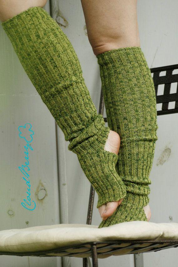 Yoga socks spats / dance socks / leg warmers / boot socks Green knit ...